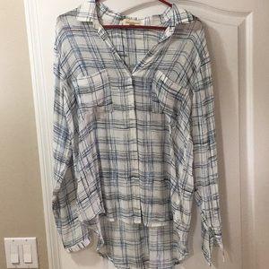 Cloth & Stone White Windowpane button down blouse